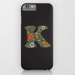 Hippie Floral Letter K iPhone Case