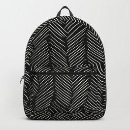 Herringbone Cream on Black Backpack