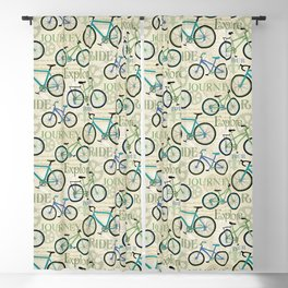Bicycle Journey Blue Blackout Curtain