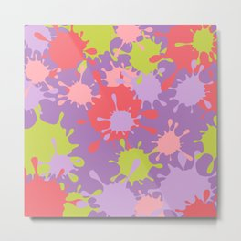 Paint Splatter-Purple+Pink+Green Metal Print