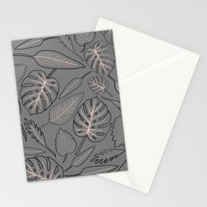 Monstera grey leaves Stationery Cards