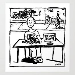 """Ben sells Bitcoins at the street fair"" Art Print"