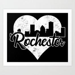 Retro Rochester New York Skyline Heart Distressed Art Print