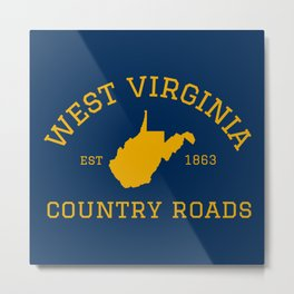 West Virginia Country Roads State Map WV Vintage Sign Metal Print