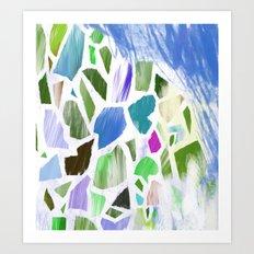 Blue Terrazzo Art Print