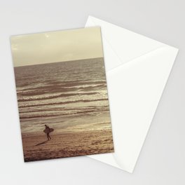Surfer at Sunset, Fistral Beach, Newquay, Cornwall Stationery Cards