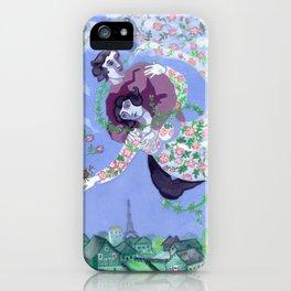 Wild Green Chagallian Lovers iPhone Case