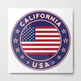 California, USA, car sticker, fridge sticker, travel sticker Metal Print