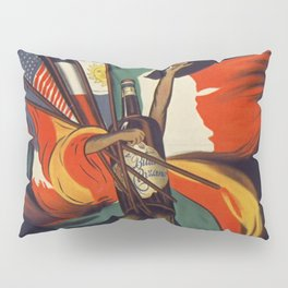 Bitter CINZANO Vintage Ad 1912 Drink Poster - Restaurant Kitchen Bar Cafe Flags Torino Italy Leonetto Cappiello Lithograph Art Wall Pillow Sham