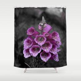 Foxglove on Grey Shower Curtain