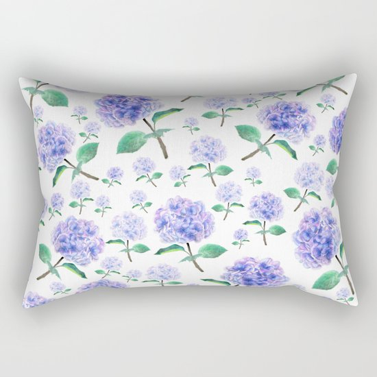 purple blue hydrangea pattern Rectangular Pillow