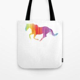 Rainbow Running Horse Horseback Riding Gift Tote Bag