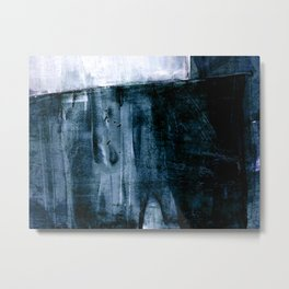 Indigo Blue and White Minimalist Abstract Painting Metal Print