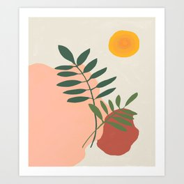 Green leaves on the rocks under the sun, mid century  Art Print