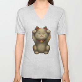 maneki-neko | Lucky Cat (White) Unisex V-Neck