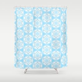 Shiny light blue winter star snowflakes pattern Shower Curtain