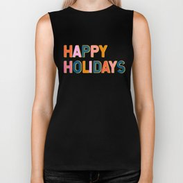 Colorful Happy Holidays Typography Biker Tank