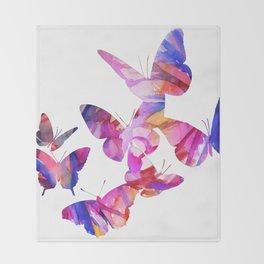 Pink Butterflies Throw Blanket