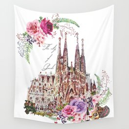 Barcelona Spain La Sagrada Familia Vintage Wall Tapestry
