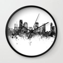 Houston Skyline Black and White Wall Clock
