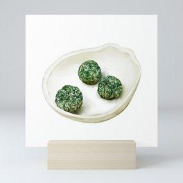 Watercolor Illustration of Chinese green tea balls Mini Art Print
