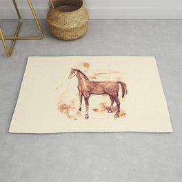 Horse sepia illustration Rug