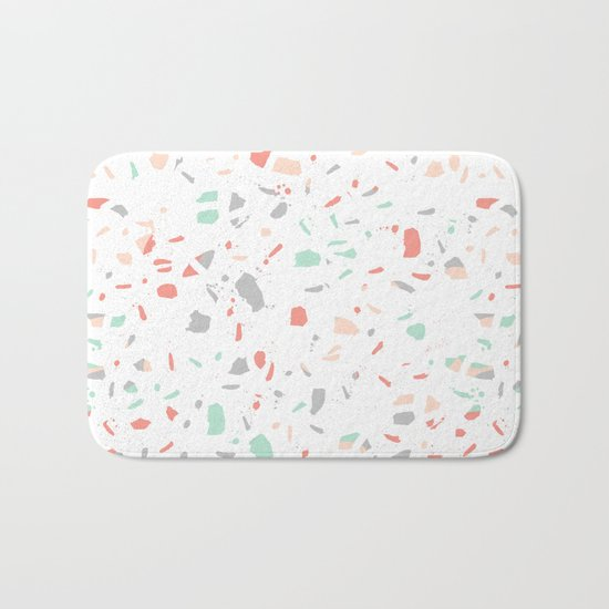 Pastel terrazzo minimal pattern trendy home office wall art gender neutral Bath Mat