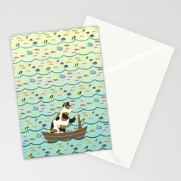 Captain Cat in yellow fade Stationery Cards