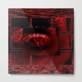 Neon Red Eye in Deep Ocean Metal Print
