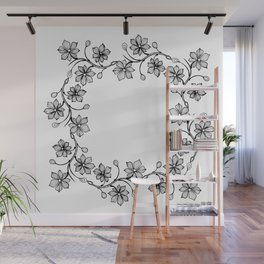 Black and White Floral Wreath Lineart Wall Mural