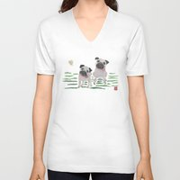 pugs V-neck T-shirts featuring PUGS by Bless Hue