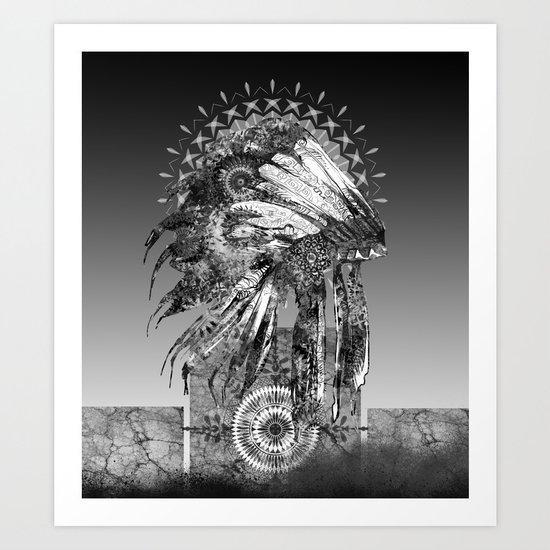 black and white mandala headdress Art Print