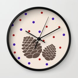 Pine cones and berries Wall Clock
