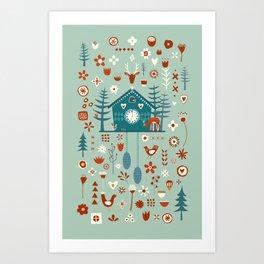 Cuckoo Clock Scandinavian Woodland Forest Art Print