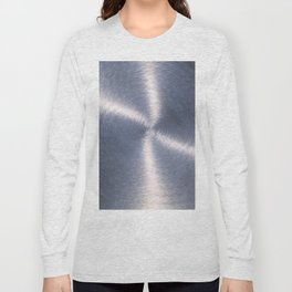 Silver Metallic Stainless Steel Pattern Long Sleeve T-shirt