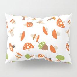 Artistic hand painted orange green autumn mushroom pattern Pillow Sham