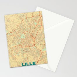 Lille Map Retro Stationery Cards