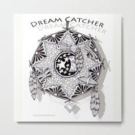 Zentangle Dreamcatcher Metal Print