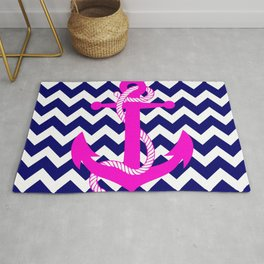 Blue White Chevron Pink Anchor Rug