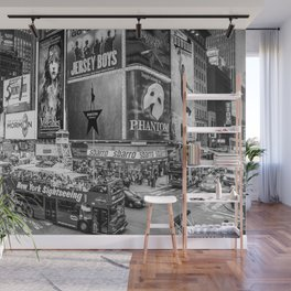 Times Square II (B&W widescreen) Wall Mural