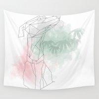 greyhound Wall Tapestries featuring greyhound  by Ingrid Winkler