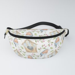 birdhouses, birds, hearts and flowers Fanny Pack