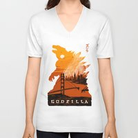 godzilla V-neck T-shirts featuring Godzilla  by tim weakland