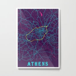Athens Neon City Map, Athens Minimalist City Map Art Print Metal Print
