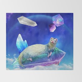Ferret in the Sky with Crystals Throw Blanket