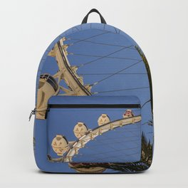 Viva Las Vegas Nevada Highroller Wheel Blue sky Palm trees and lines to the clouds Backpack