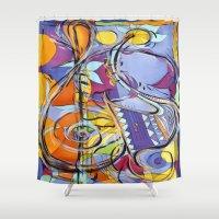 jazz Shower Curtains featuring JAZZ by Diane Stevenett Fine Art