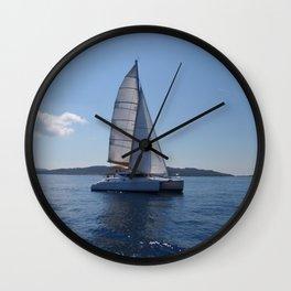 Catamaran In The Mediterranean Wall Clock