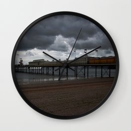 Dark Clouds Over Paignton Pier Wall Clock