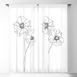 Botanical illustration line drawing - Anemones Blackout Curtain